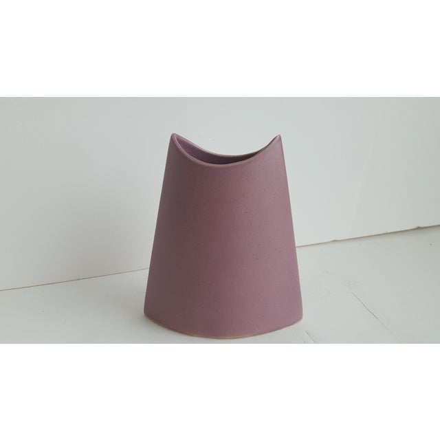 J. Johnston Modernist Mauve Pink Ceramic Pottery Vase For Sale In Charlotte - Image 6 of 11