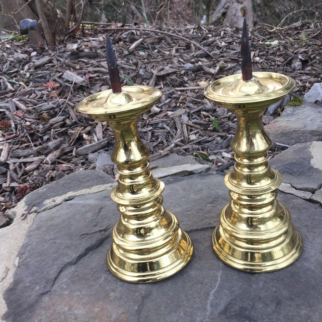 Hollywood Regency 1970s Hollywood Regency Virginia Metalcrafters Brass Spiked Candle Stick Holders - a Pair For Sale - Image 3 of 6