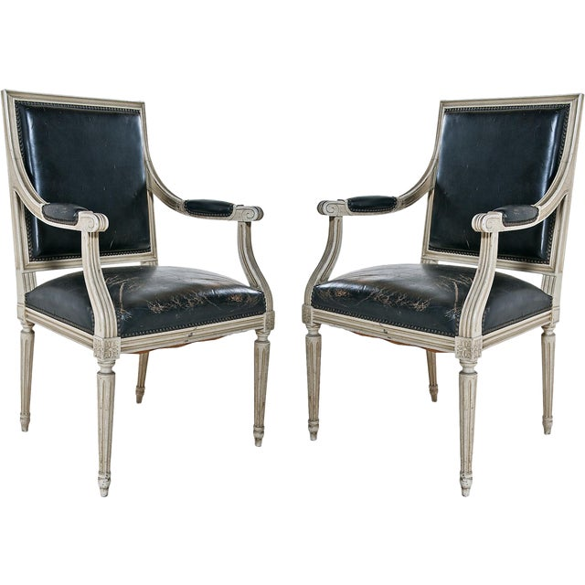 Louis XVI Style Painted Armchairs - A Pair - Image 1 of 9