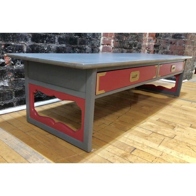 Red 1960s Contemporary Gray & Coral Coffee Table For Sale - Image 8 of 10