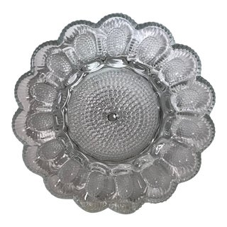 Vintage Clear Patterned Glass Egg Plate For Sale