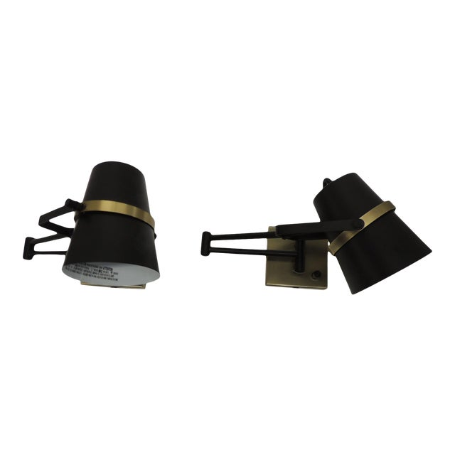 Pair of Mid Century Modern Style Wall Swing on Lamps For Sale