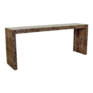 Mid-Century Modern Snakeskin Parsons Console Table 1970s For Sale