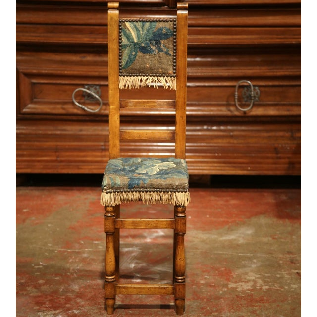 Louis XIII 18th Century French Walnut Baby Chair with Aubusson Tapestry For Sale - Image 3 of 9