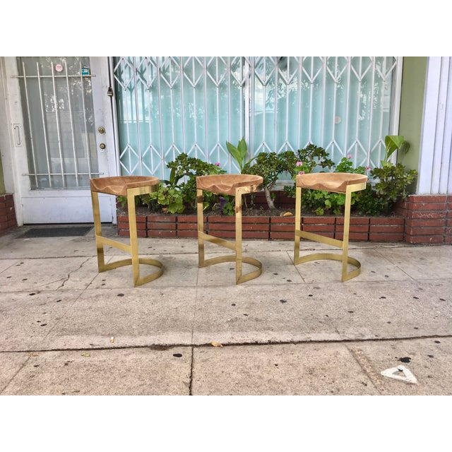 Set of 3 Vintage Brass Stools by Warren Bacon - Image 3 of 7