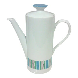 Mid-Century Blue and White Porcelain Coffee Pot For Sale