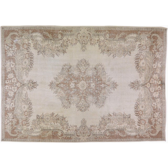 """Vintage Turkish Hand Knotted Whitewash Organic Wool Fine Weave Rug,7'2""""x10'2"""" For Sale In New York - Image 6 of 6"""