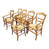 Image of Six Antique French Country Rustic Oak Dining Chairs W Rush Seats Rolled Armrests For Sale