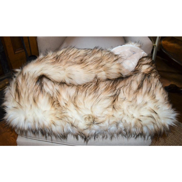 Acrylic Wild Mannered Faux Fur Bleached Finn Throw For Sale - Image 7 of 11