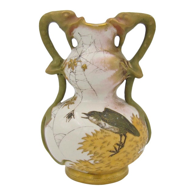Late 19th Century Austrian Art Nouveau Amphora RStK Ivory Porcelain Vase With Dragon Handles For Sale