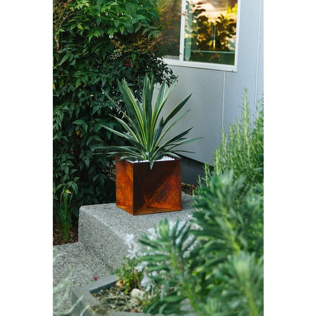 Trey Jones Studio Weathering Steel Origami Planter For Sale - Image 11 of 12