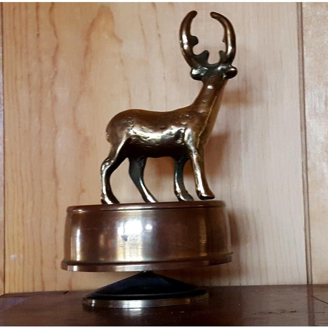 Vintage Brass Deer Music Box - Image 4 of 4