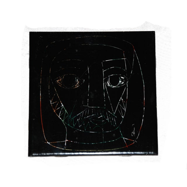 1960s Abstract Mid-Century Tile of Man's Face - Image 6 of 6