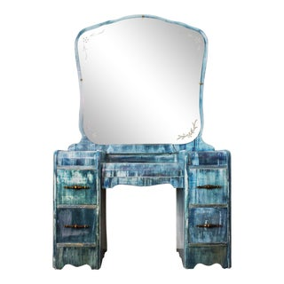 1950's Vintage Art Deco Distressed Vanity For Sale