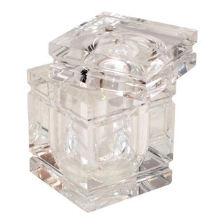 Mid-Century Modern Stacked Lucite Ice Bucket and Attached Swing Lid For Sale