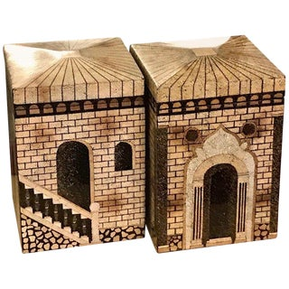 Pair of Eggshell Lacquered Architectural Motif Boxes, Manner of Fornasetti For Sale