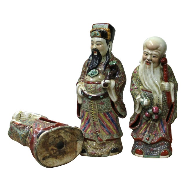 Chinese Color Mixed Ceramic SanXing ( 3 Deities ) Fu Lu Shou Figure Se For Sale In San Francisco - Image 6 of 7