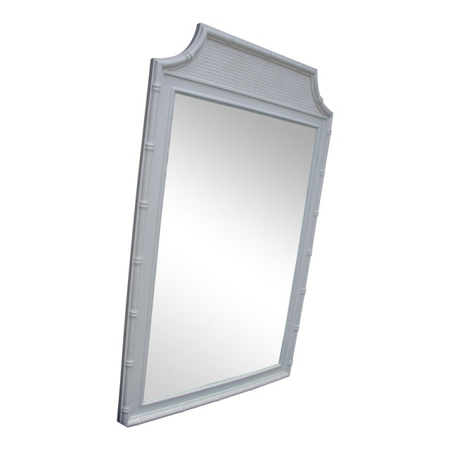 Thomasville White Faux Bamboo Wall Mirror For Sale