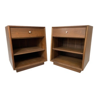 1960s Mid-Century Modern Kipp Stewart for Drexel Declaration Walnut Nightstands - a Pair For Sale