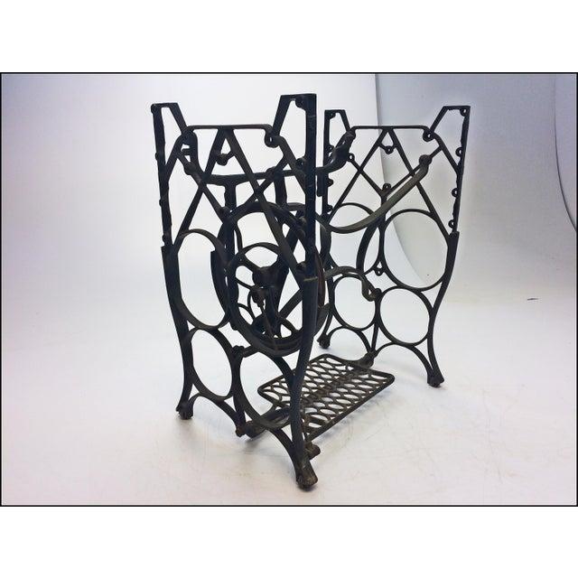 Vintage Industrial Black Iron Treadle Sewing Machine Base - Image 8 of 11