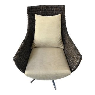 Contemporary Palecek Metro Wicker Swivel Chair For Sale