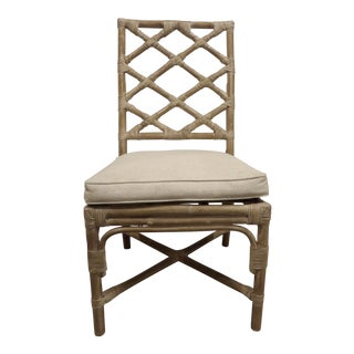 White Washed Bamboo Side Chair with Beige Cushion Seat For Sale