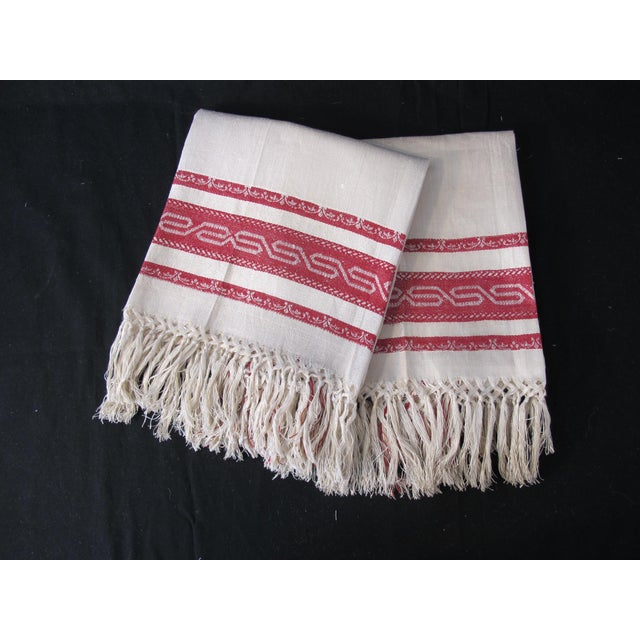 Victorian Antique Red Striped Tea Towels - a Pair For Sale - Image 3 of 3