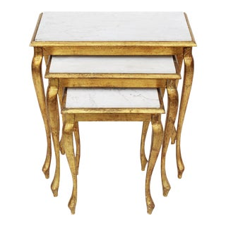 Gilt Nesting Tables with Marble Tops - Set of 3