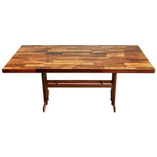 1970s Jacaranda Rosewood Patchwork Trestle Dining Table, Brazil For Sale