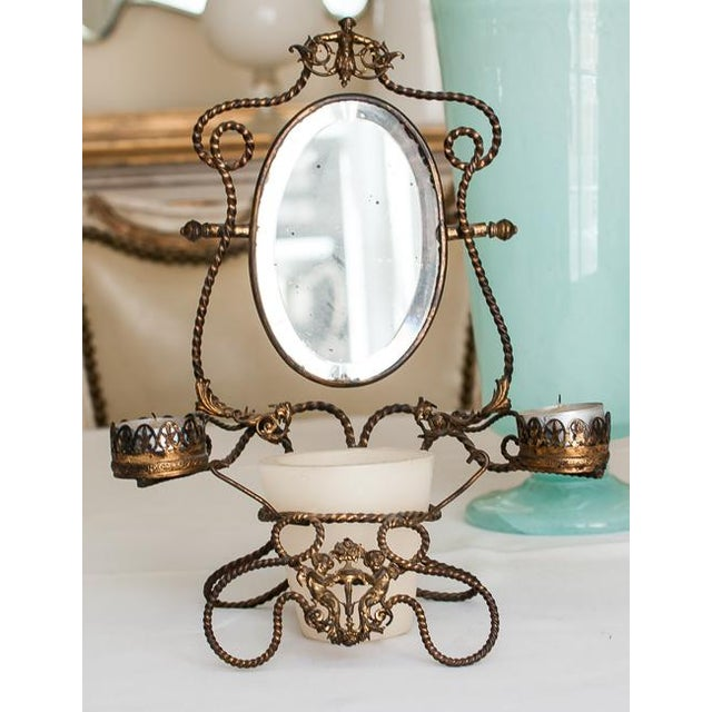 1800s Napoleon III French Shaving Mirror - Image 2 of 6