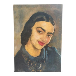 Amrita Sher-Gil Self Portrait #7 - Canvas on Frame (Reproduction Print) For Sale