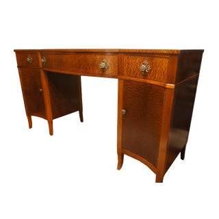 Exotic Leopard Pattern Sapele Mahogany Double Pedestal Sideboard For Sale
