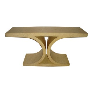 1970s Mid-Century Modern Lacquered Parchment Console Table For Sale