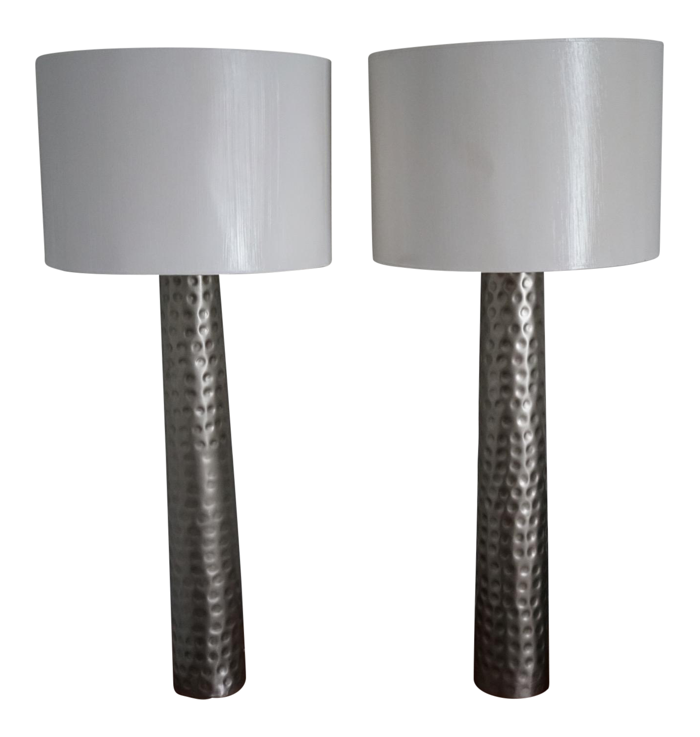 Contemporary Barbara Cosgrove Hammered Silver Table Lamps A Pair