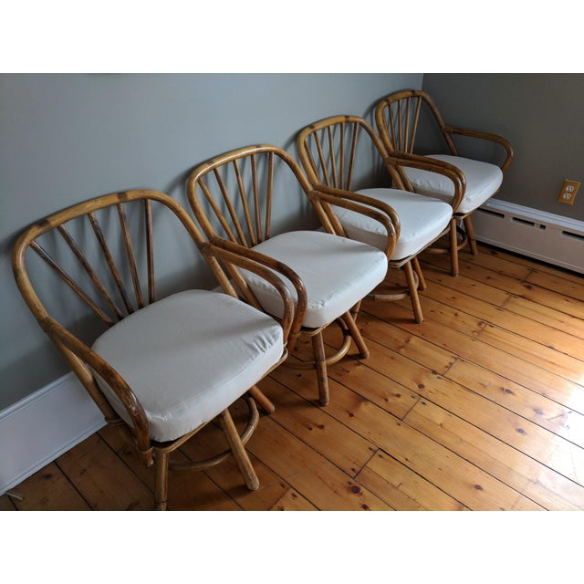 Swivel Bamboo Armchairs - Set of 4 For Sale - Image 12 of 13