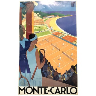Original Distressed Vintage Monte Carlo Tennis Courts Classic Travel Poster by Roger Broders For Sale