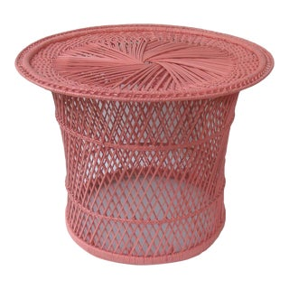 Round Side Table Boho Wicker Rattan Coral Pink For Sale