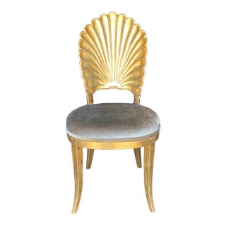 Hollywood Regency Giltwood Scalloped Chair For Sale