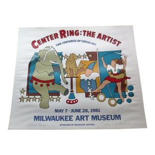 Circus Art Milwaukee Art Museum Poster Signed For Sale