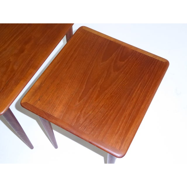 Brown Danish Mid-Century Modern Stacking Nesting Tables in Teak - Set of 3 1950s For Sale - Image 8 of 13