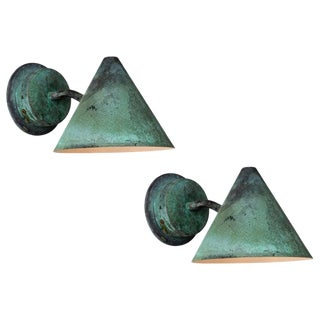 Hans-Agne Jakobsson 'Mini-Tratten' Patinated Copper Outdoor Sconces - a Pair For Sale