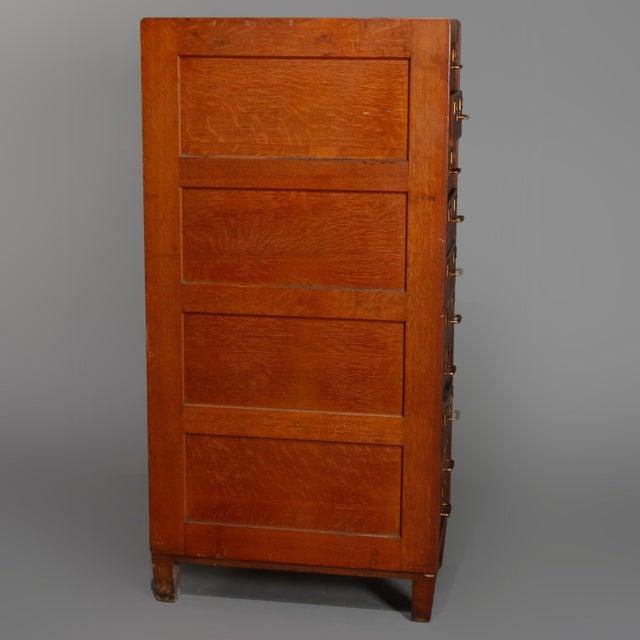 1910s Antique Arts & Crafts Paneled Oak 10-Drawer Filing Cabinet, Yawmen & Erbe For Sale - Image 5 of 10