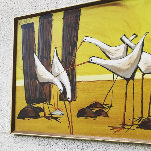 Mid-Century Painting of Seagulls by McCaine For Sale - Image 5 of 7
