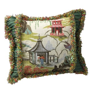 Japanese Raw Silk Fringe Pillow For Sale