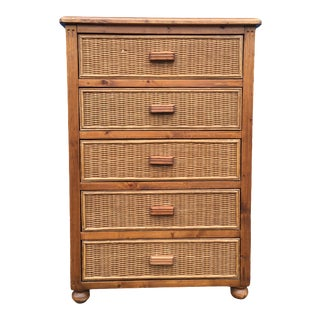 Vintage Rattan Wicker Highboy 5 Drawer Dresser For Sale