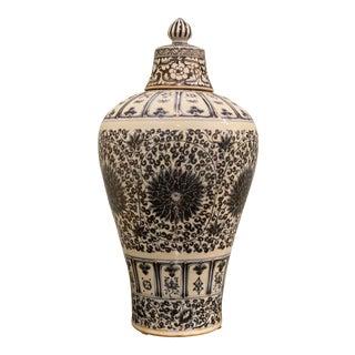 Ming Lidded Plum Ceramic Vase For Sale