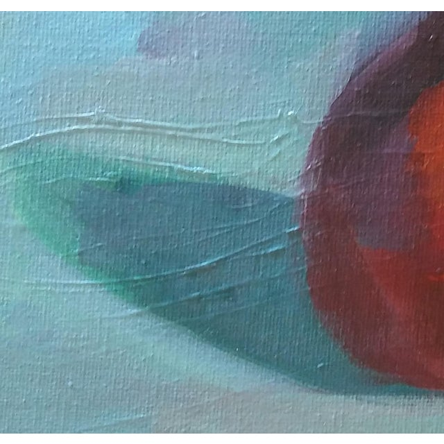 Contemporary Paula McCarty Red Pear Acrylic on Canvas Board Painting For Sale - Image 3 of 4