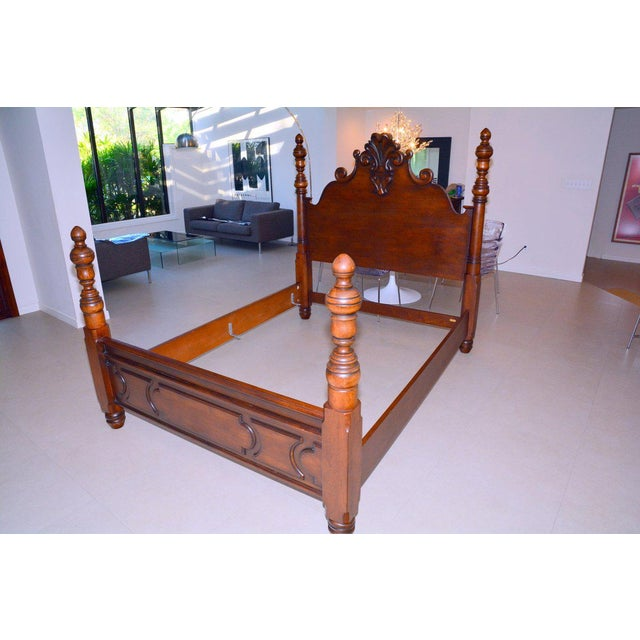 Ralph Lauren Four Poster Carved Wood Queen Size Bed Frame - Image 7 of 9