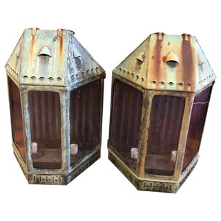 Large Antique Copper Lanterns - a Pair For Sale