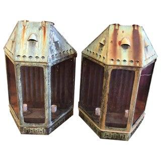 Large Oversized Antique Copper Lanterns - a Pair For Sale